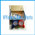 HVAC auto Air Conditioner System R12 R134A R22 R502 Diagnostic Brass Manifold Gauge Set Quick Coupler